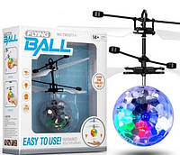 Интерактивная игрушка SUNROZ Flying Light Ball летающий светящийся мяч с сенсором движения Прозрачный(SUN2212), фото 1