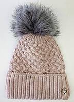 Женская зимняя шапка. Меховой бубон. Флисовая подкладка. Нежная роза.