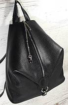 291 Натуральная кожа Черный городской кожаный рюкзак женский из натуральной кожи Карабин антивор, фото 3