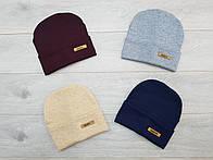 Трикотажная шапочка на флисе р50-54 Упаковка 5шт разных цветов.