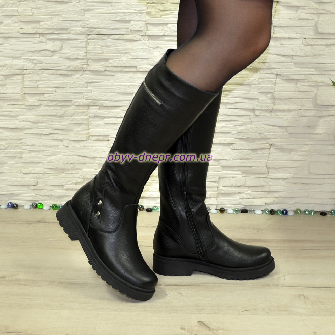 Сапоги демисезонные женские на маленьком каблуке, натуральная кожа флотар