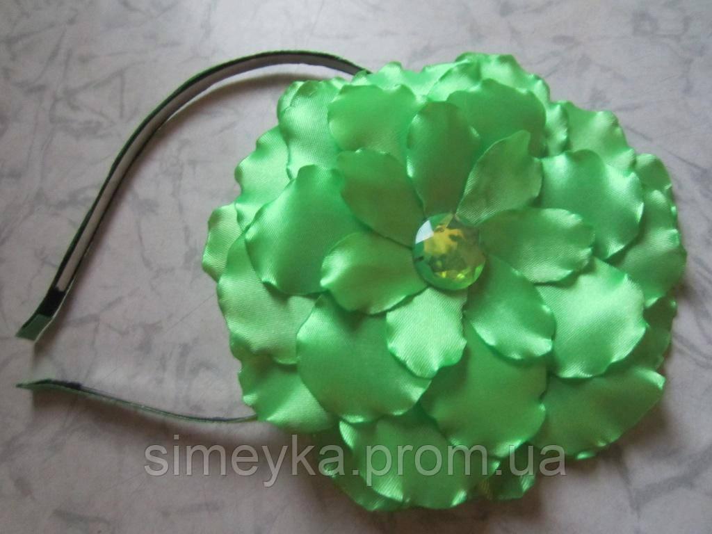 Обруч для волос с цветком (можно носить также как заколку, брошку). Цвет любой