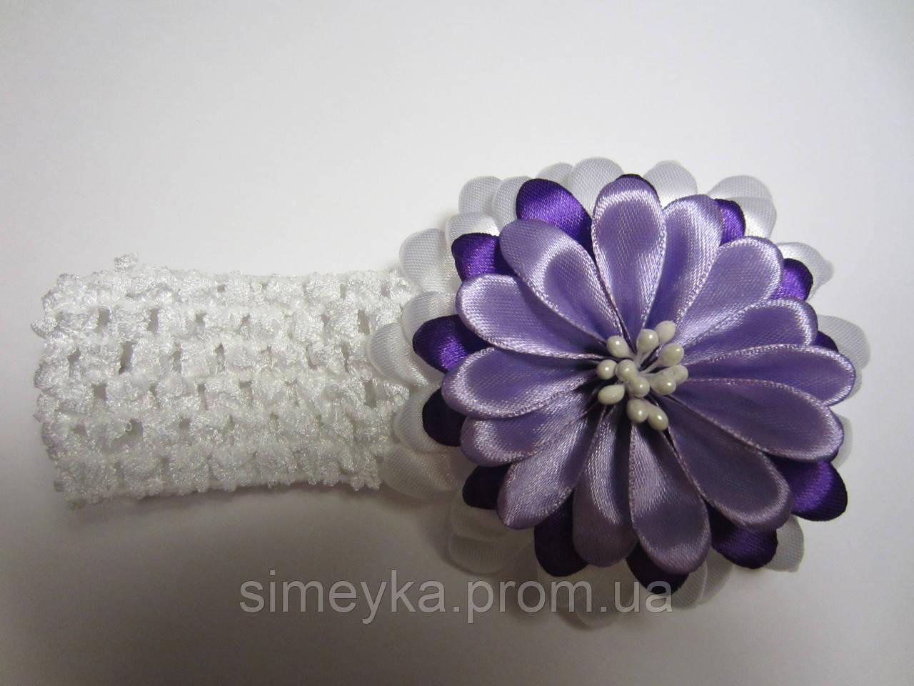 Повязка для волос с цветком (можно также крепить цветок на обруч, заколку, брошь; основы в наборе). Цвет любой