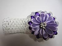 Повязка для волос с цветком (можно также крепить цветок на обруч, заколку, брошь; основы в наборе). Цвет любой, фото 1