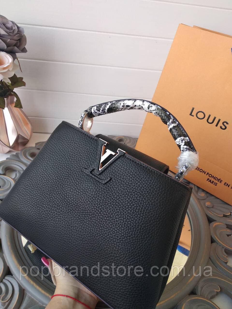 Модная женская сумка LOUIS VUITTON  CAPUCINES 27 см натуральная кожа (реплика), фото 1