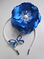 Обруч для волос с цветком и бабочкой. Цветок также можно крепить на повязку, заколку. Цвет любой, фото 1