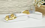 Женские шлепанцы на утолщенной подошве, натуральная кожа золотистого цвета, фото 3