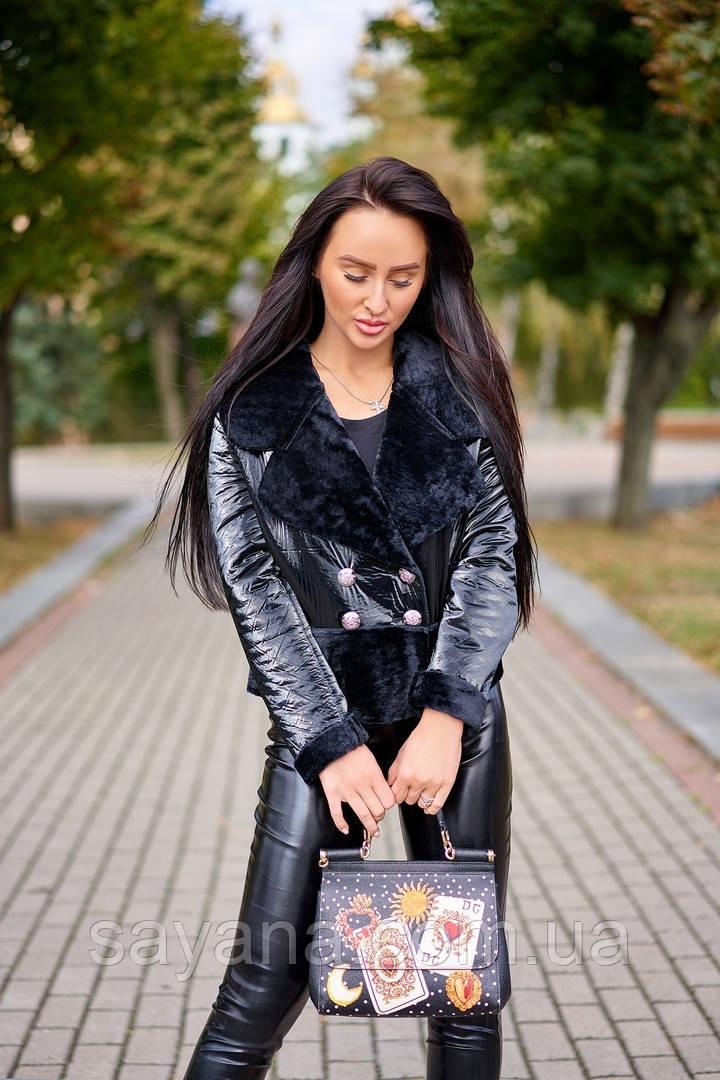 Женская комбинированная куртка. А-13-1018