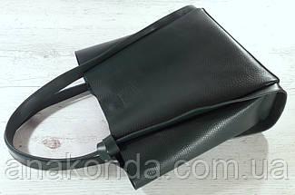 157 Натуральная кожа, Сумка женская шоппер зеленая изумруд хвоя SHADED SPRUCE, тиснение, фото 2
