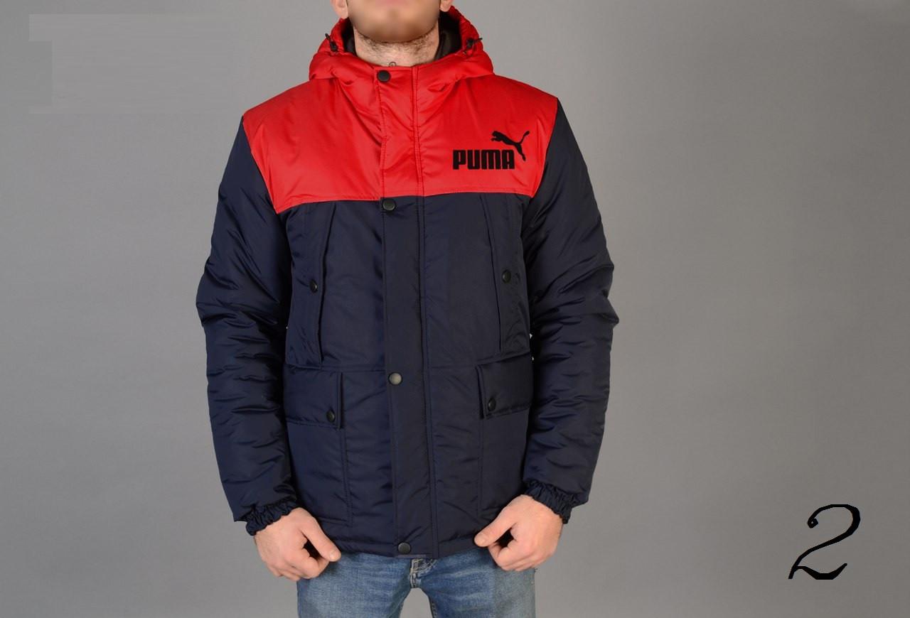 Зимняя Мужская Теплая Куртка-Парка Puma Мужские Куртки Красно-Синие Зимние  Очень Теплые Пума 88f8e353bd7