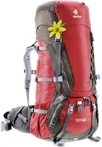 Женский, вместительный рюкзак на 60+10 л. ACT TRAIL 60+10 EL DEUTER, 33452 5444 красный