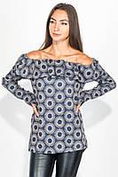 Блузка женская с оборками на плечах 64PD2643 (Сине-бежевый)