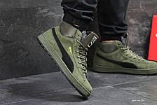 a68a26263d92 Высокие зимние замшевые кроссовки Puma Suede зеленые,на меху, фото 3