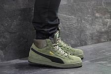 b8b3d8b3fa05 Высокие зимние замшевые кроссовки Puma Suede зеленые,на меху, фото 2