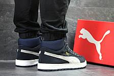 dfd6af17edc6 Высокие зимние замшевые кроссовки Puma Suede темно синие,на меху, фото 3
