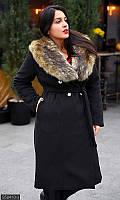 Кашемировое женское пальто с меховым воротником,черное 50-52,52-54,54-56