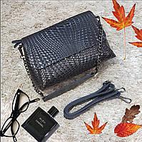 Женская серая сумочка из натуральной кожи, фото 1