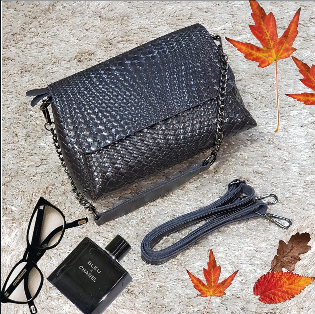 Женская серая сумочка из натуральной кожи