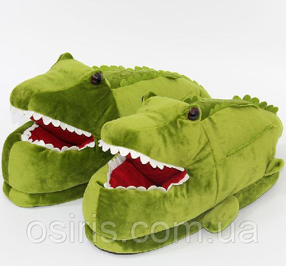 Тапочки домашние Крокодилы взрослые / тапки комнатные плюшевые с задниками  36-42 размер