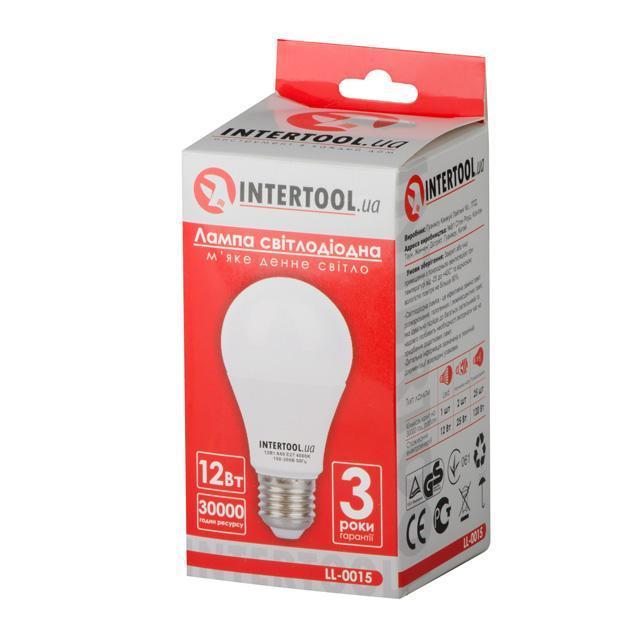 Светодиодная лампа LED 12Вт, E27, 220В, INTERTOOL LL-0015