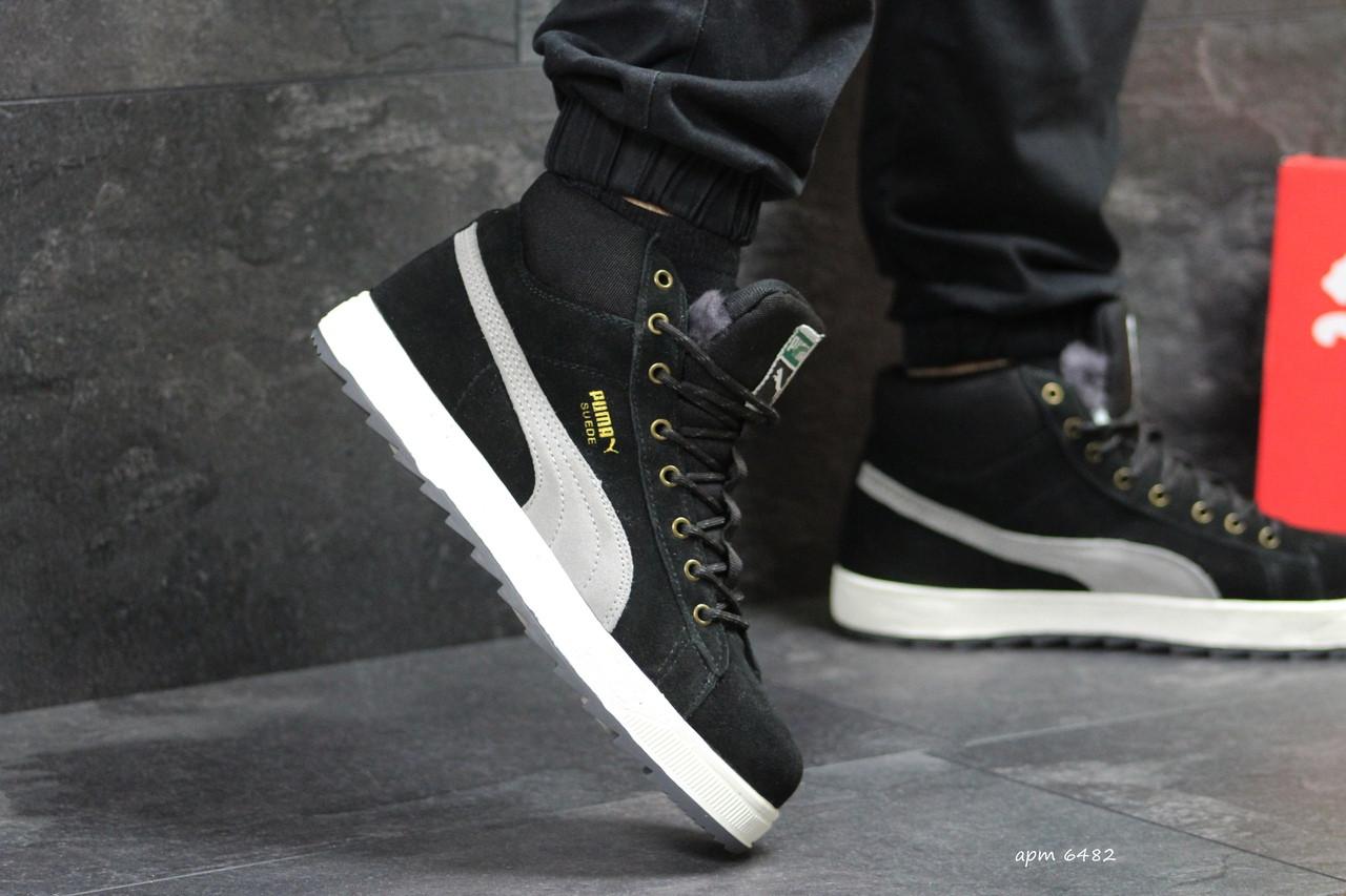 7da9bb0abcf5 Высокие зимние замшевые кроссовки Puma Suede черные с серым,на меху -  Интернет-магазин