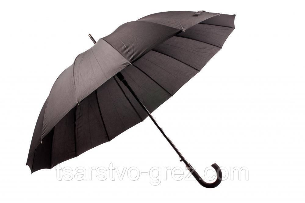 Зонт Антишторм трость Черный 16 спиц