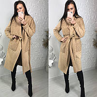 Женское замшевое пальто с вставками барана 58PA120, фото 1