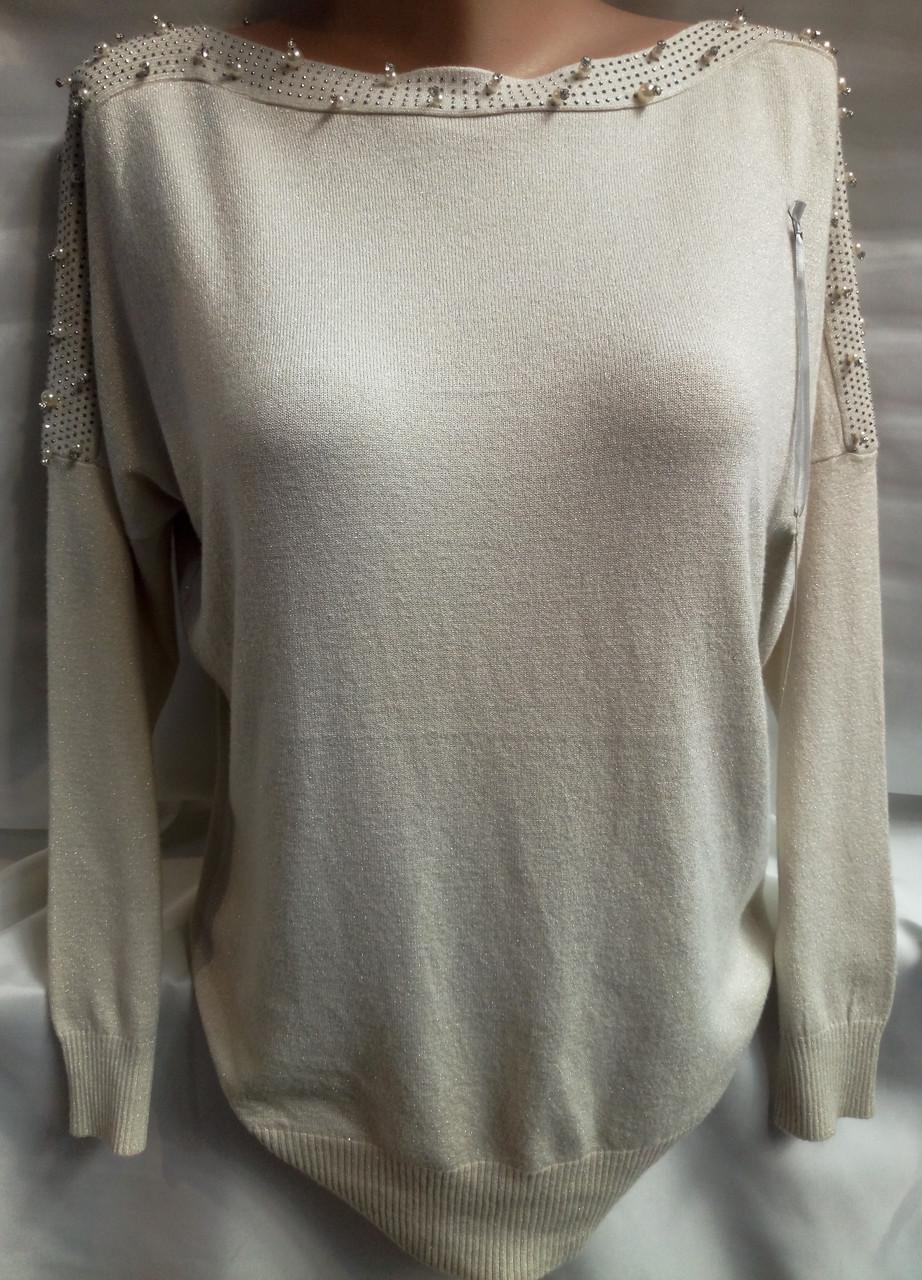 Блуза с бусинками на плечах/ горловине кашемировая женская батальная