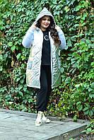 Женская удлиненная куртка большого размера с плащевкой спереди и трехнитки сзади 10BR1050, фото 1
