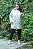 Демисезонная женская куртка из стеганной плащевки большого размера 10BR1051