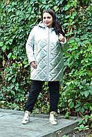 Демисезонная женская куртка из стеганной плащевки большого размера 10BR1051, фото 1