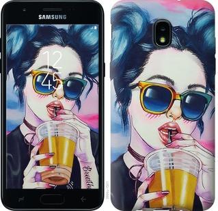"""Чехол на Samsung Galaxy J3 2018 Арт-девушка в очках """"3994u-1501-15886"""""""