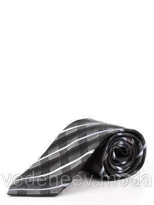 Галстук шелковый черный с геометрическим принтом