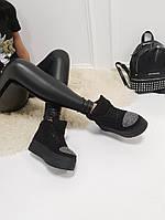 Женские зимние  ботинки черные  , фото 1