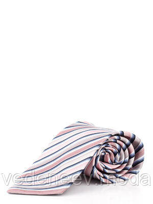 Галстук шелковый розовый в диагональную цветную полоску