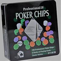 "Набор для игры в покер ""Professional Poker Chips""  100 фишек размер 19х20х5"
