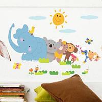 Виниловая наклейка Детская Любовь Слон и Обезьяна