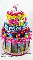 """Угощение в детский коллектив ко дню рождения ребенка из сладостей на 12 детей""""Мальвина""""с киндер шоколадками"""