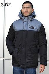 Мужская зимняя парка The North Face черного и серого цвета  (люкс копия)