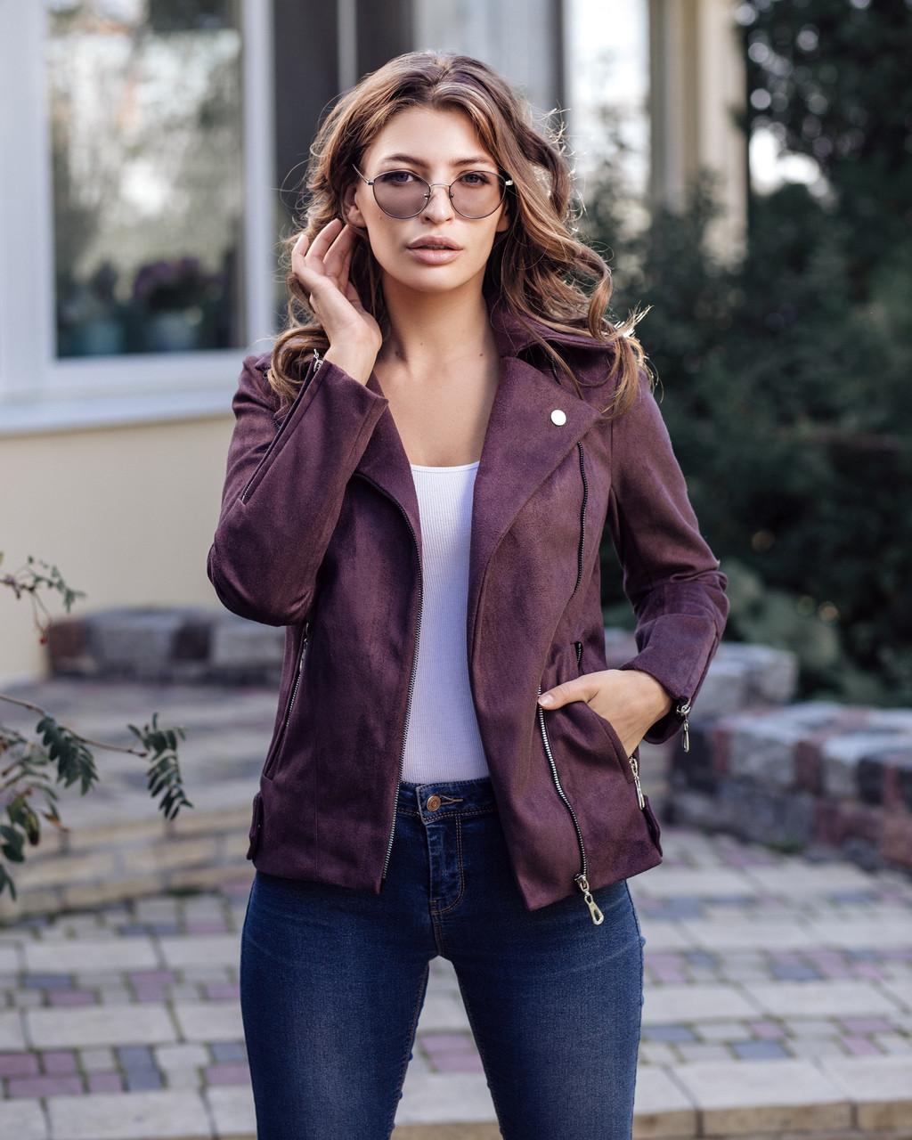Кожаная женская куртка на замше 20kr135