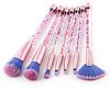 Набор кистей прозрачные с розовыми блесками (7 штук)