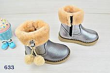 Ботинки детские с мехом на девочку еврозима серебряные 23.24.25 р., фото 2