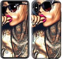 "Чехол на iPhone X Девушка в тату ""4001c-1050-15886"""
