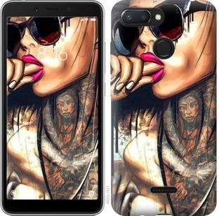 "Чехол на Xiaomi Redmi 6 Девушка в тату ""4001u-1521-15886"""