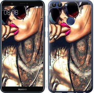 "Чехол на Huawei P Smart Девушка в тату ""4001c-1346-15886"""