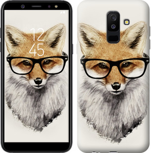 """Чехол на Samsung Galaxy A6 Plus 2018 Лис в очках """"2707c-1495-15886"""""""
