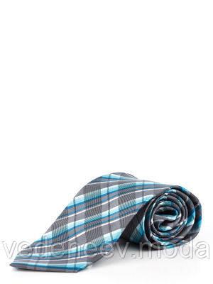 Серый галстук в голубую клетку из микрофибры