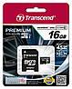 MicroSD card Transcend 16Gb TS16GUSDU1 Premium UHS-1 Class 10 + adapter SD
