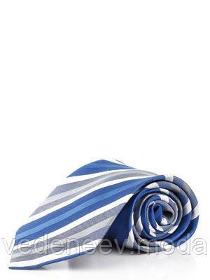 Галстук серый из мирофибры в голубую широкую полоску
