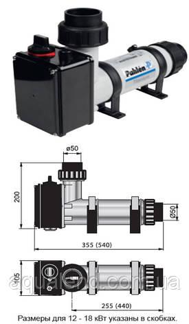 Электронагреватель компактный пластиковый Pahlen 3кВт с реле потока и термостатом 220В, фото 2